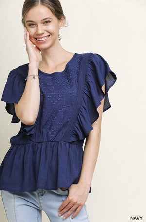 (Medium, Large) - Navy Tonal Embroidered Top - Hello, Sunshine Market