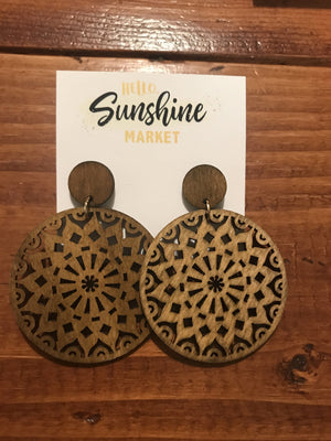 Wood Circle Medallion Earrings
