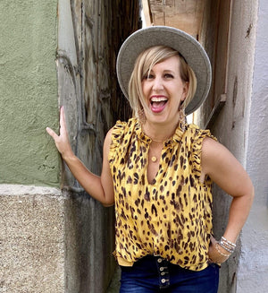 Mustard leopard print sleeveless top