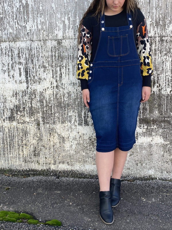 Dark Wash Denim Overall Dress