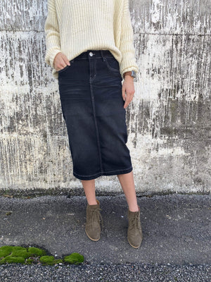Black Wash Denim Pencil Skirt