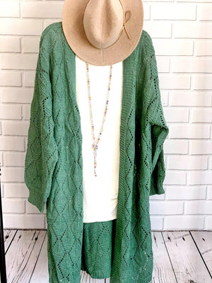 Green Oversized Cardigan