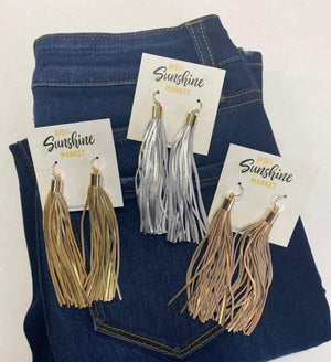 Metallic Leather Tassel Earrings - Hello, Sunshine Market