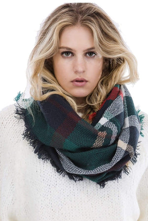 Plaid Pattern Infinity Scarf
