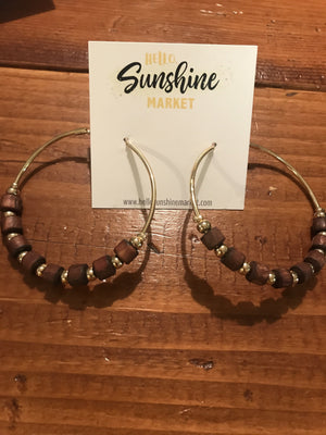 Wooden Bead Hoop Earrings