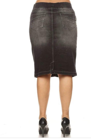Plus Black Wash Denim Skirt