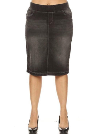 Plus Black Wash Demim Skirt