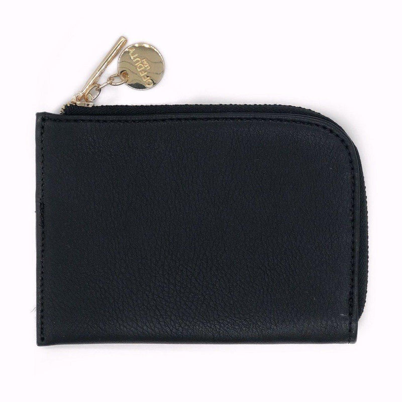 Abbey2 Flat Zip Round Card and Coin Pouch Black