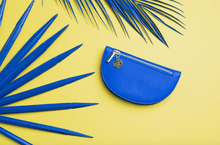 Load image into Gallery viewer, Abella Curved Card and Coin Purse Cobalt Blue