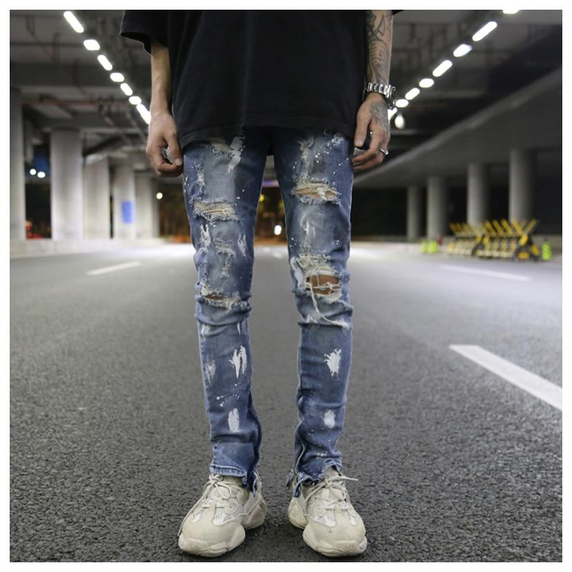 Destroyed Skinny Dark Blue Denim