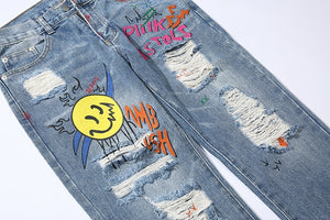SMILEY RIPPED FREESTYLE JEANS
