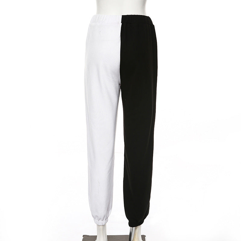 HALF WHITE HALF BLACK WOMEN SWEATPANTS