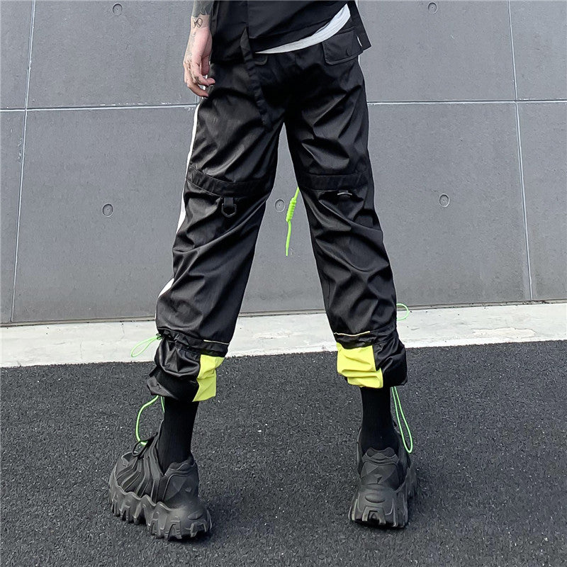 Black Baggy Drawstring Cargo Pants