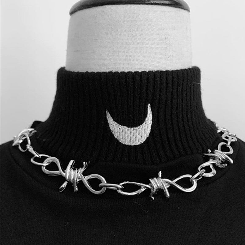 Punk Thorns Choker Chain and Bracelet