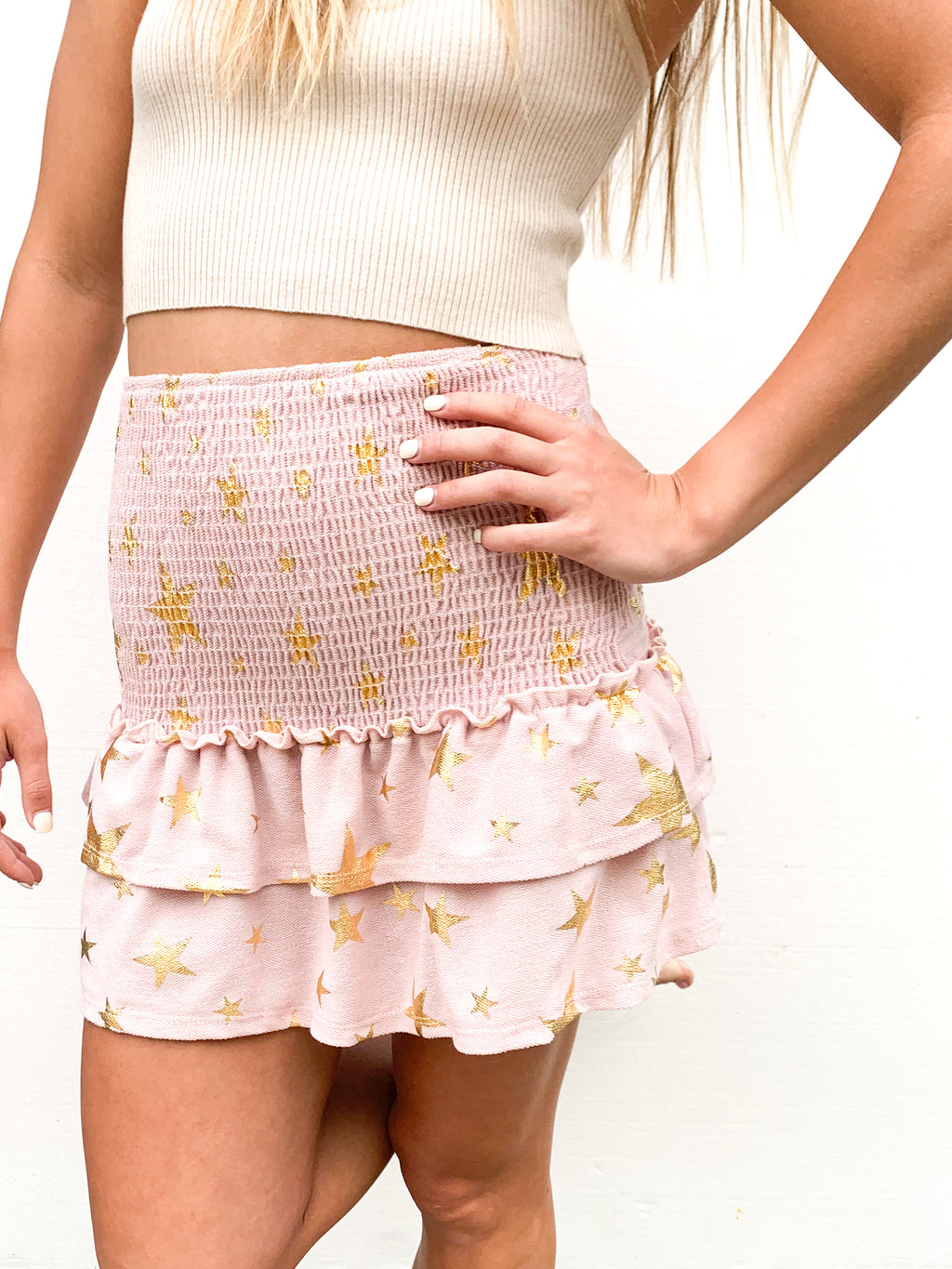 STAR FOIL SMOCKING KNIT SKIRT