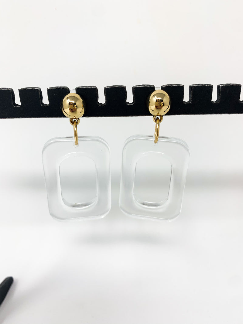 CLEAR BLOCK EARRINGS