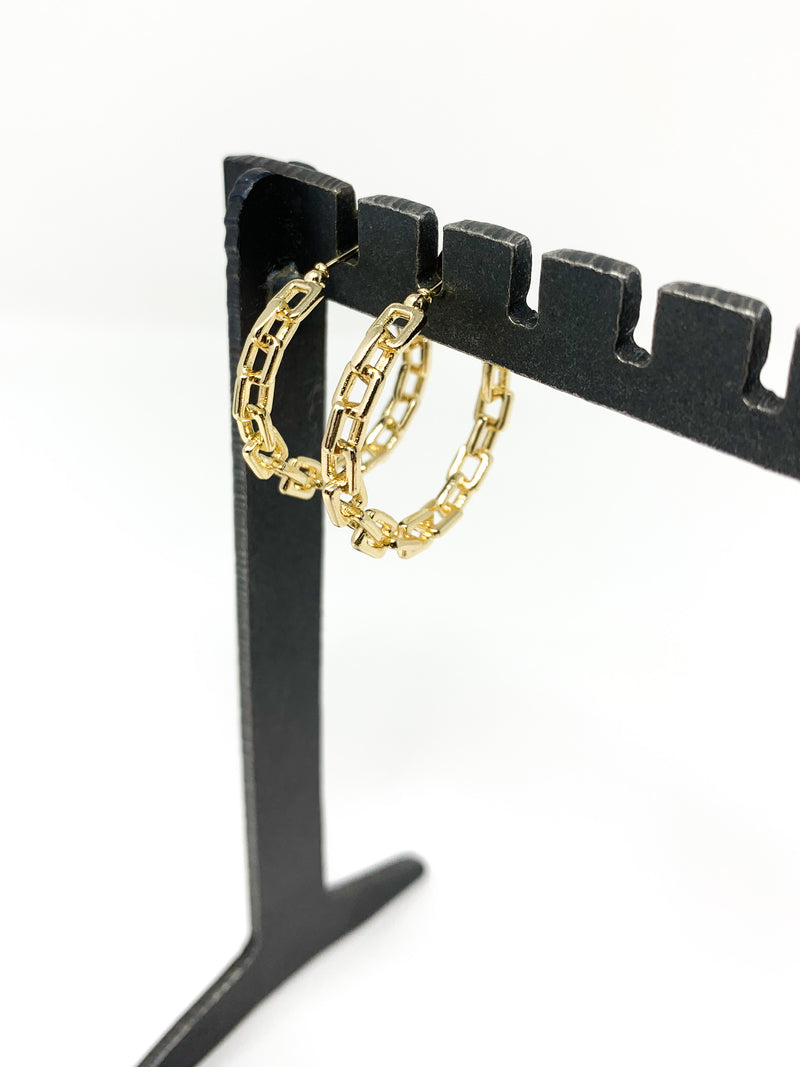 "1"" GOLD CHAIN HOOPS"