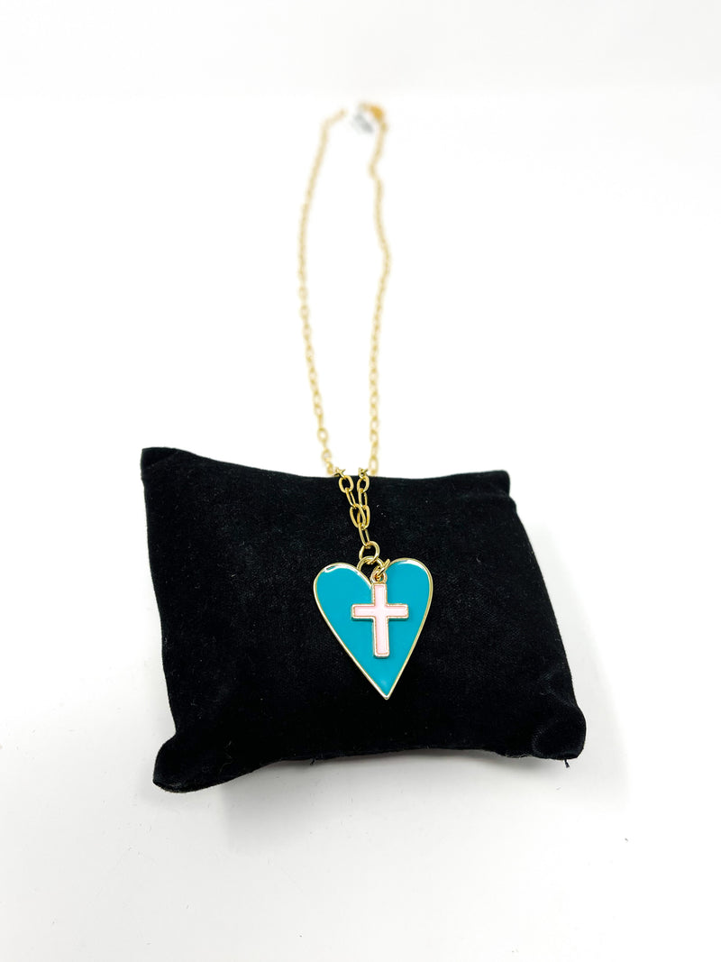 HEART AND CROSS LONG NECKLACE