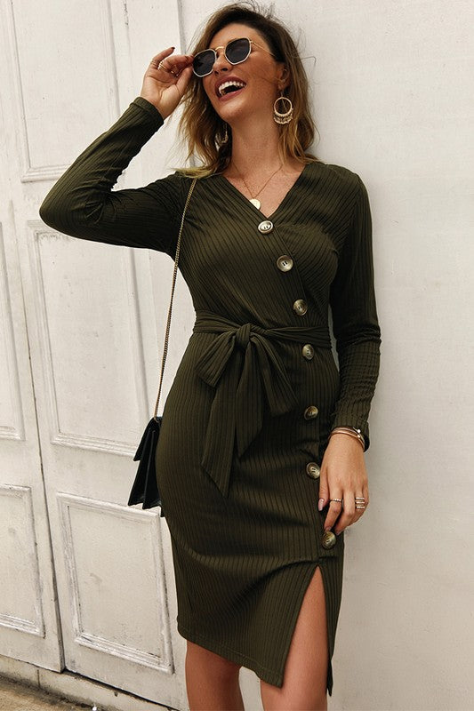 The Green With Envy Ribbed Button Front  Midi Dress