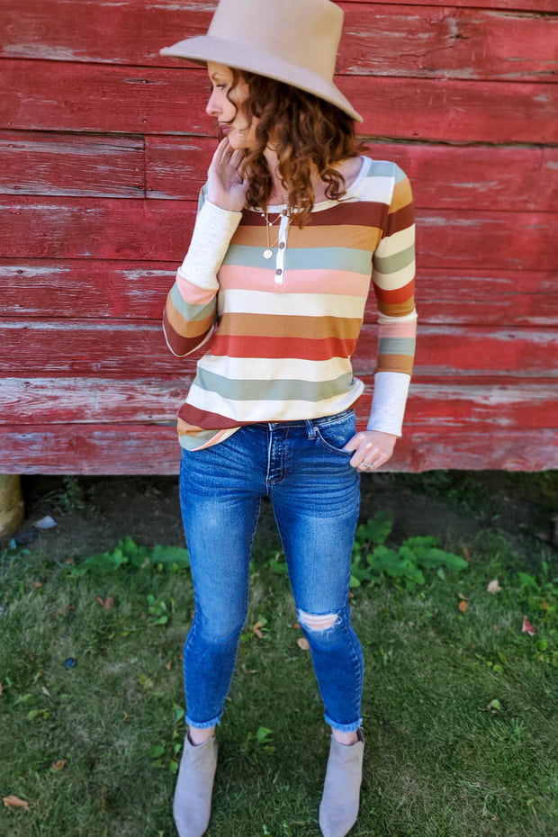 The Autumn Edit Soft Henley, Multi