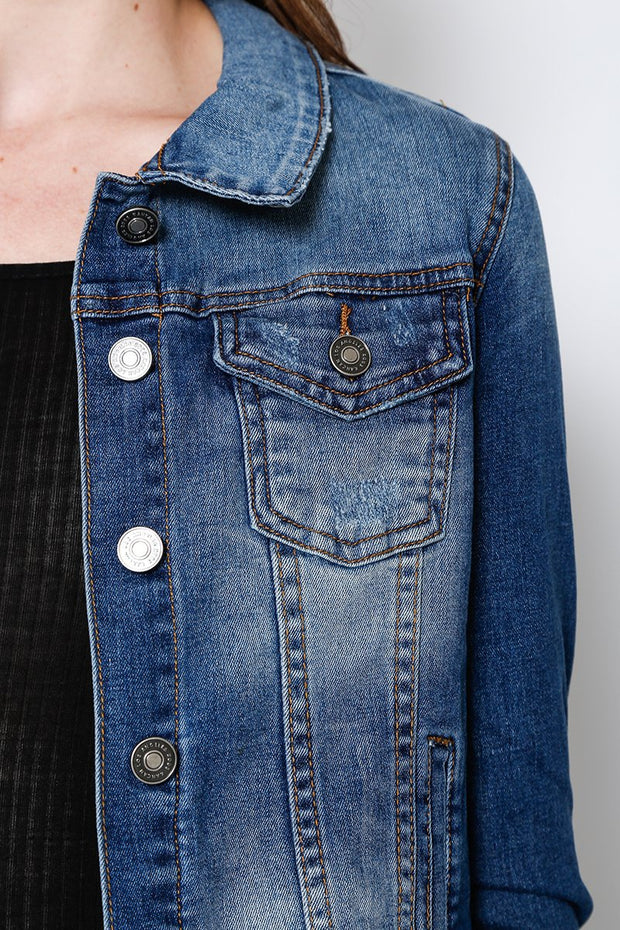 KanCan Kylie Denim Truck Jacket, Medium Wash
