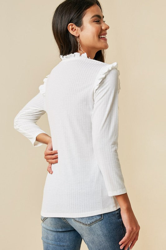 The Dakota Ruffle Mock Neck Top, Off White
