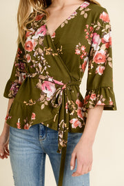 The Tied to You Wrap Top Olive