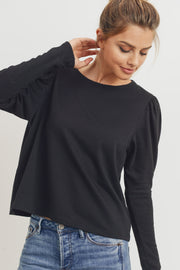 The Simone Puff Sleeve French Terry Top, Black