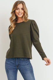 The Simone Puff Sleeve French Terry Top, Olive