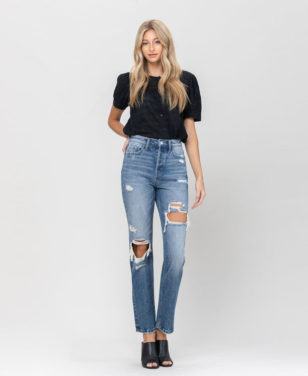 High Rise Button Fly Straight Denim