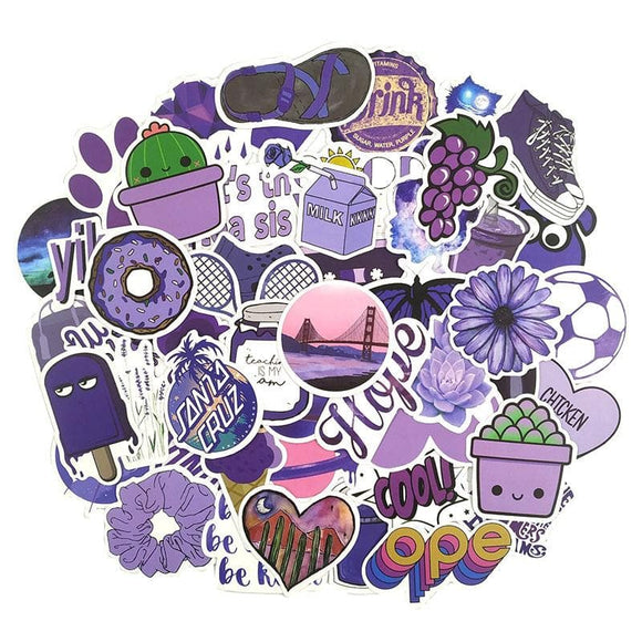50PCS Purple Fresh Stickers Decal Stickers For Luggage Laptop Motorcycle Skateboard Bicycle Toy For Kid