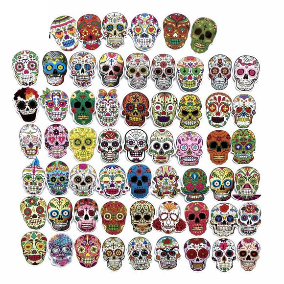 60 PCS Punk Skeleton Sticker Graffiti Skull Rock Motorcycle Stickers to DIY Scrapbooking Laptop Skateboard Suitcase Guitar Car