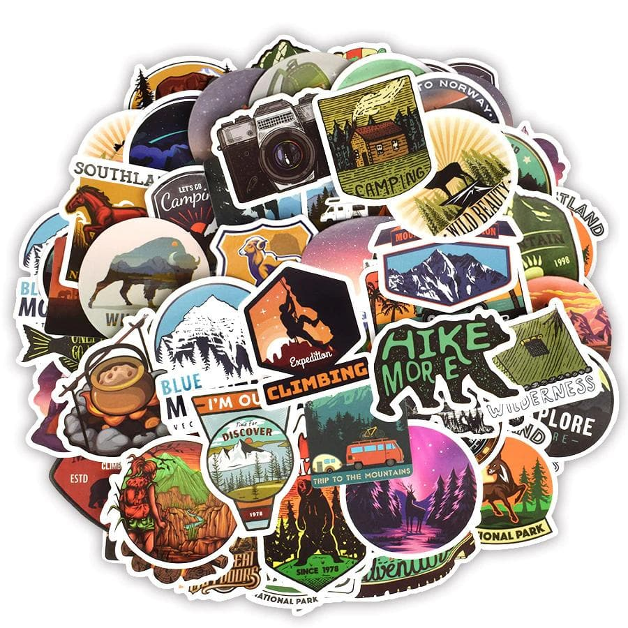 50 PCS Camping Travel Stickers Wilderness Adventure Outdoor Landscape Waterproof Decal Sticker to DIY Suitcase Laptop Motor Car
