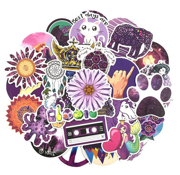 35-70PCS Purple Fresh Stickers Vsco Stickers For Luggage Laptop Motorcycle Skateboard Bicycle Toy For Girl