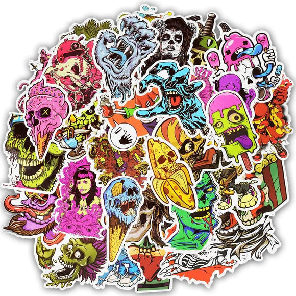 50pcs Terror Series Sticker Graffiti Skeleton Dark Funny Stickers for DIY Sticker on Travel case Laptop Skateboard Guitar Fridge