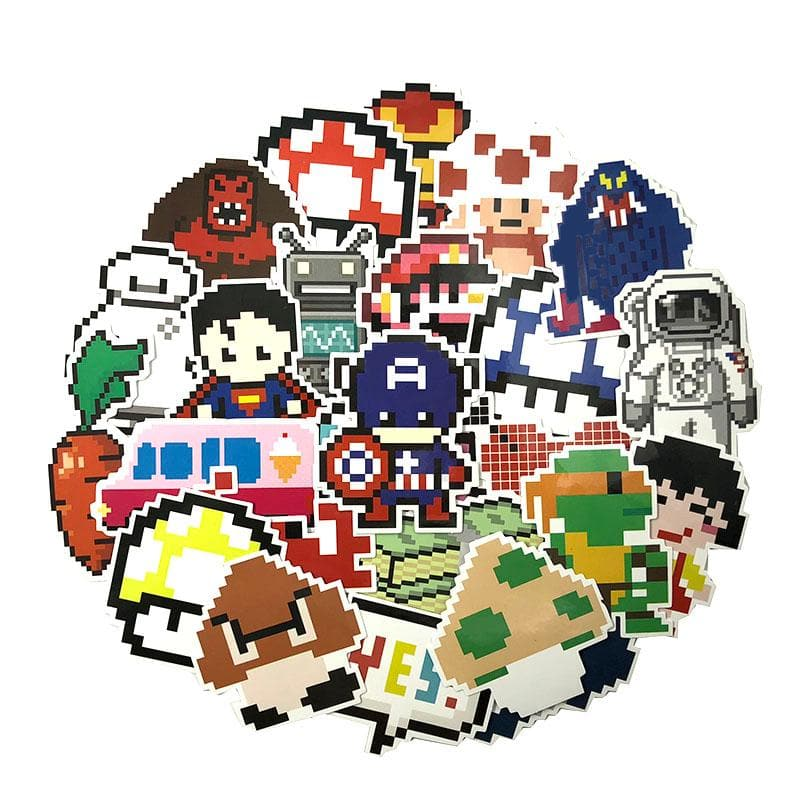 50Pcs/Set Cartoon Mosaic Graffiti Sticker Pixel Sicker For Luggage Motorcycle Laptop Refrigerator Toy Car Pvc Waterproof Sticker
