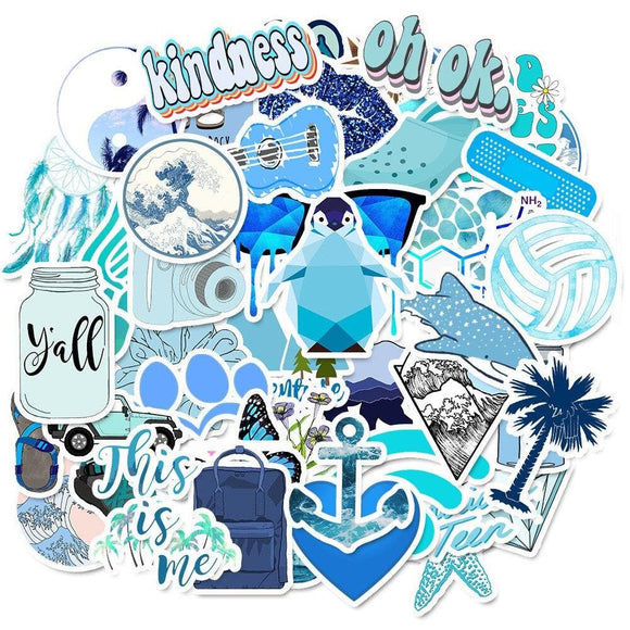 50 PCS Cartoon Blue VSCO Stickers For Chidren Toy Waterproof Sticker to DIY Suitcase Laptop Bicycle Helmet Car Decals