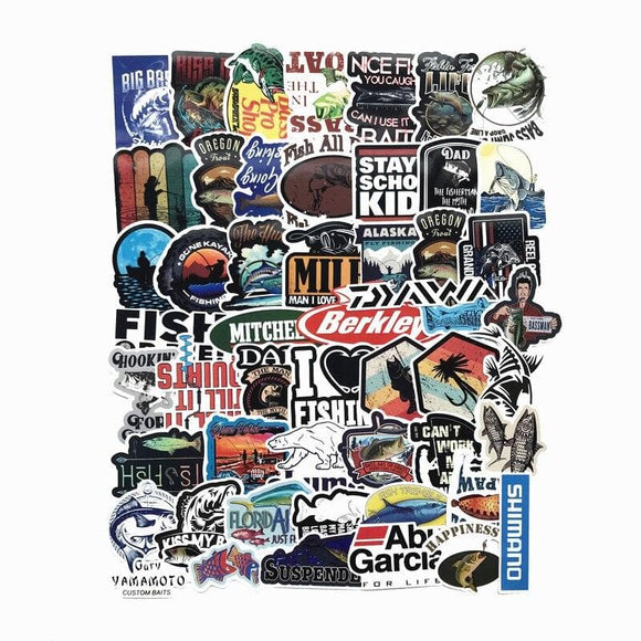 50 PCS outdoor fishing enthusiasts  Stickers For Laptop Skateboard Luggage Car Styling Bike  Doodle Decals Cool Waterproof