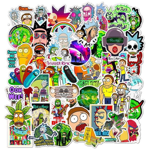 50pcs Drama Rick And Morty 2019 Stickers Decal For Snowboard Laptop Luggage Car Fridge DIY Styling Vinyl Home Decor Pegatina