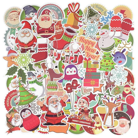 100 PCS Christmas Stickers Gift for Children Matte Lovely Snowflake Elk Festival Decor Sticker to DIY Scrapbook Laptop Snowboard