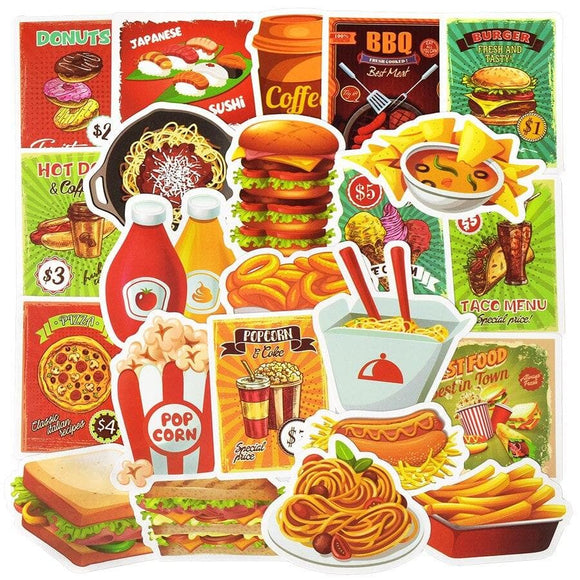 50 PCS Fast Food Drink Stickers Cartoon Delicious Dessert Diet Creative Sticker to DIY Refrigerator Laptop Luggage Fridge Bike