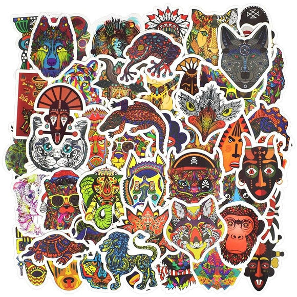 50 PCS Ethnic Totem Sticker Animal Mandala Bohemian Tribal Masks Tattoo Decor Stickers to DIY Luggage Laptop Travel Case Guitar