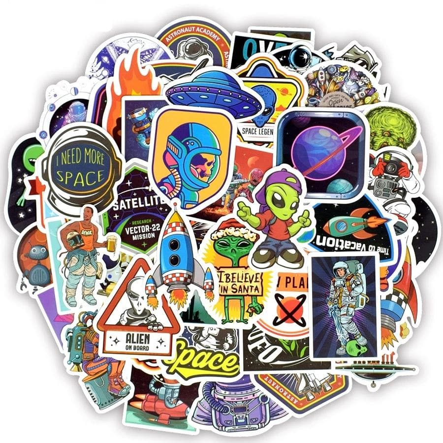 50 PCS Outer Space Stickers Toys for Children Alien UFO Astronaut Rocket Ship Planet Sticker to Scrapbooking Skateboard Laptop