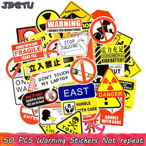 50PCS Warning Stickers