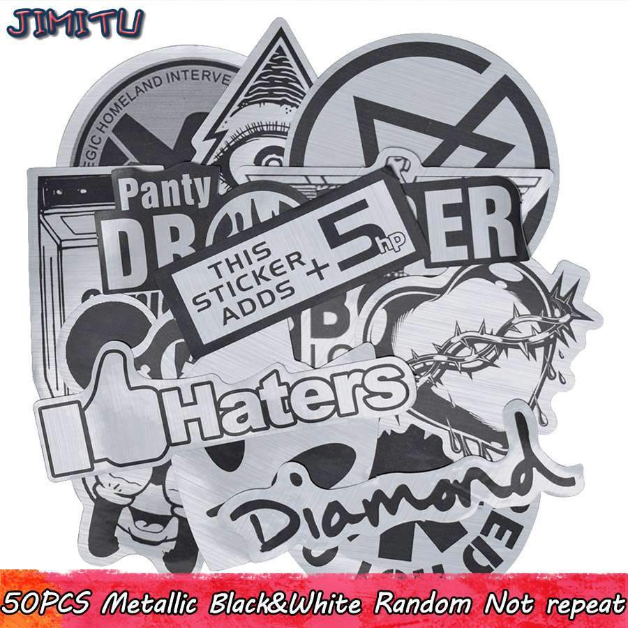 50PCS Metallic Color Black and White Stickers