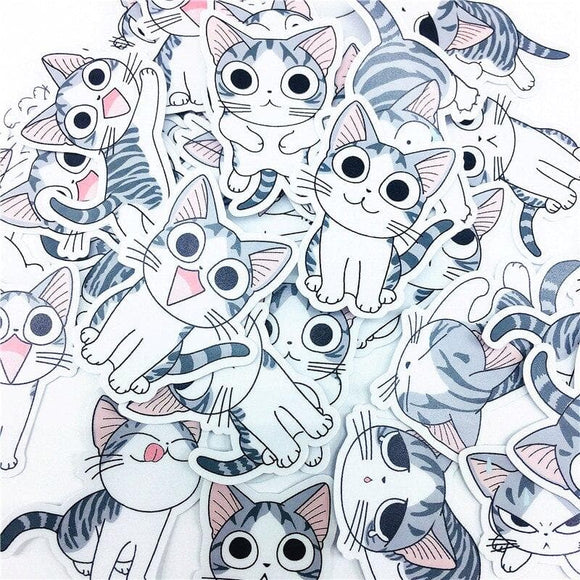 38 PCS Cute expression action cat Stickers Crafts And Scrapbooking stickers book Student label Decorative sticker DIY Stationery
