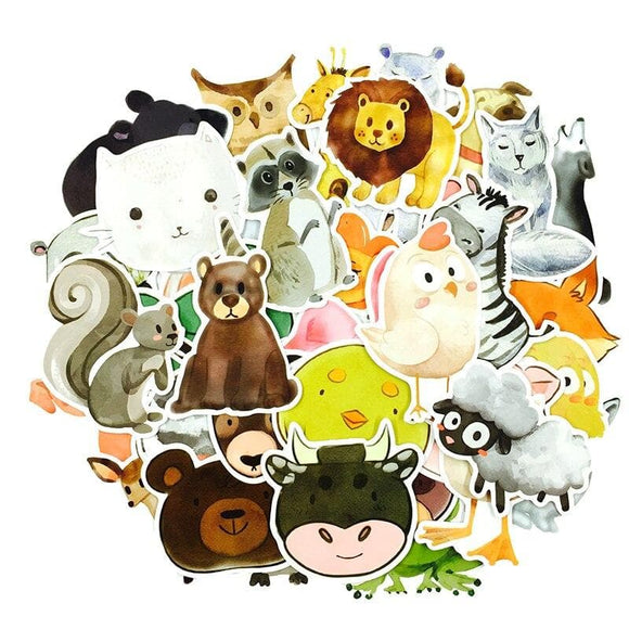 50Pcs/lot Watercolor Painting Style Animal Cartoon Stickers For Snowboard Laptop Vinyl Decal Home Decor Toy Stickers For Kids