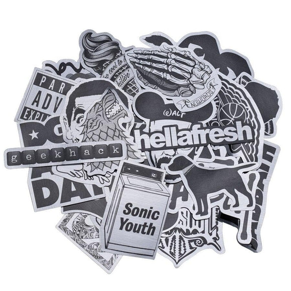 50pcs Metallic Color Black and White Stickers Random Graffiti Sticker for Motorcycle Stickers Kids DIY Laptop Luggage Skateboard