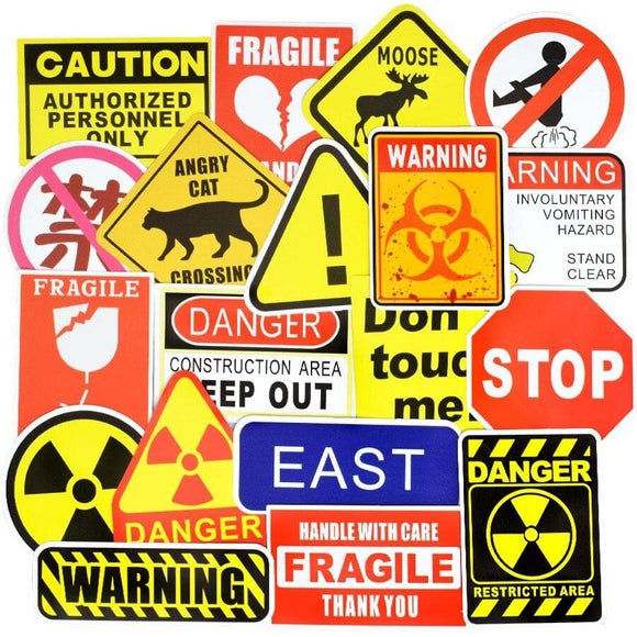 50 PCS Sign Stickers Warning Reminder Banning Symbol Waterproof Decal Sticker Laptop Suitcase Entrance Bicycle Fridge Bumper Car