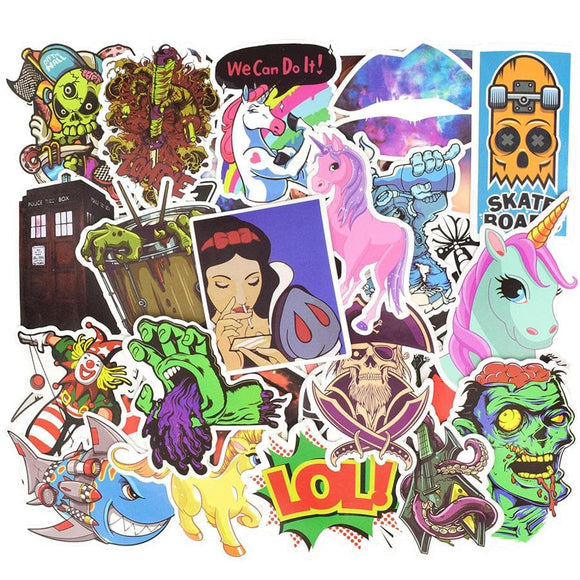 50 PCS Classic Stickers Waterproof Horror Anime Funny Sticker to DIY Laptop Snowboard Car Motorcycle Luggage Skateboard Guitar